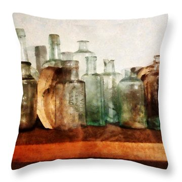 Doctor - Row Of Medicine Bottles Throw Pillow by Susan Savad