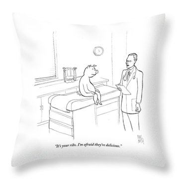 Doctor To Pig Throw Pillow by Paul Noth