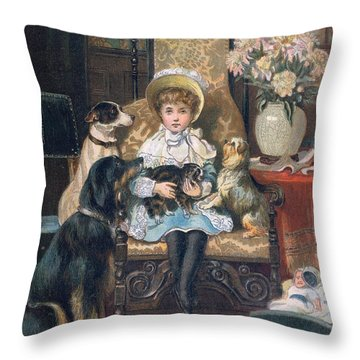 Doddy And Her Pets Throw Pillow by Charles Trevor Grand