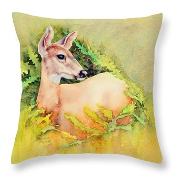 Throw Pillow featuring the painting Doe In Ferns by Bonnie Rinier