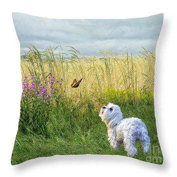 Dog And Butterfly Throw Pillow