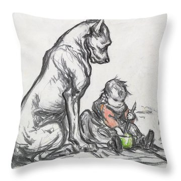 Dog And Child Throw Pillow by Robert Noir