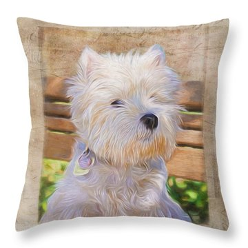 Dog Art - Just One Look Throw Pillow by Jordan Blackstone