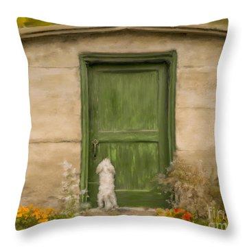 Dog At The Door Throw Pillow