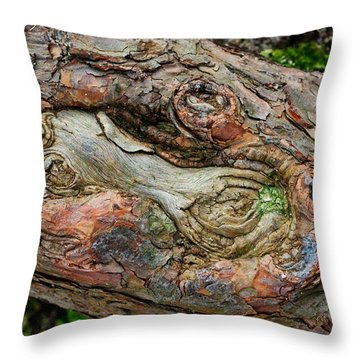 Throw Pillow featuring the photograph Dog Bone In The Bark by Gary Slawsky
