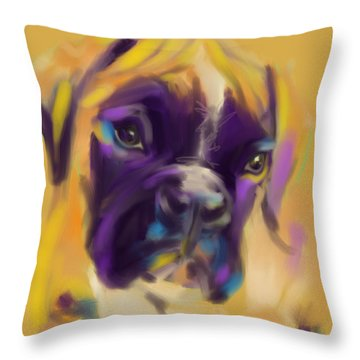 Throw Pillow featuring the painting Dog Boxer Bobby by Go Van Kampen