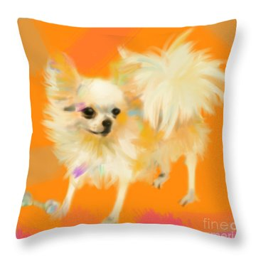 Throw Pillow featuring the painting Dog Chihuahua Orange by Go Van Kampen