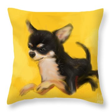 Throw Pillow featuring the painting Dog Chihuahua Yellow Splash by Go Van Kampen