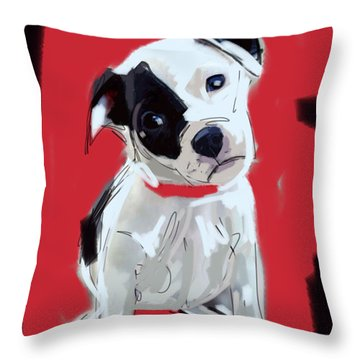 Throw Pillow featuring the painting Dog Doggie Red by Go Van Kampen