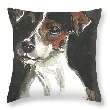 Throw Pillow featuring the painting Dog Freddy by Go Van Kampen