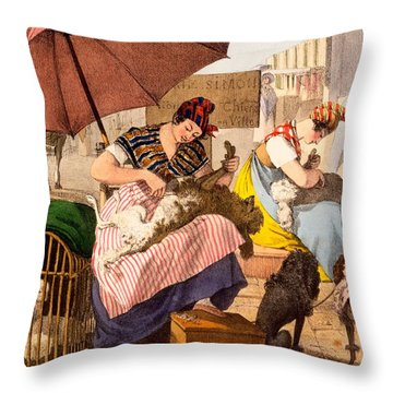 Dog Groomers, 1820 Throw Pillow by French School