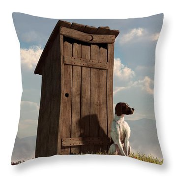 Dog Guarding An Outhouse Throw Pillow