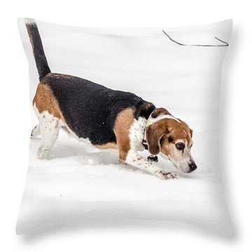 Dog In The Snow Throw Pillow by Wade Brooks