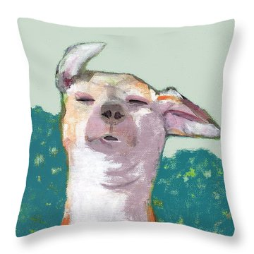 Dog In Wind Throw Pillow
