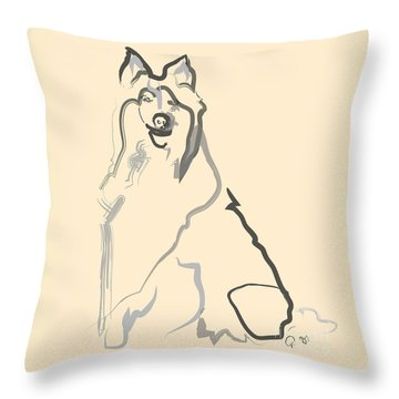 Throw Pillow featuring the painting Dog - Lassie by Go Van Kampen