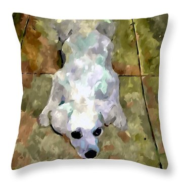 Dog Lying On Floor  Throw Pillow by Lanjee Chee
