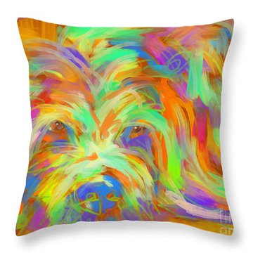 Throw Pillow featuring the painting Dog Matze by Go Van Kampen