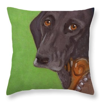 Dog On Chair Throw Pillow