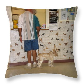 Dog Owner Dog Vet's Office Casa Grande Arizona 2004 Throw Pillow by David Lee Guss