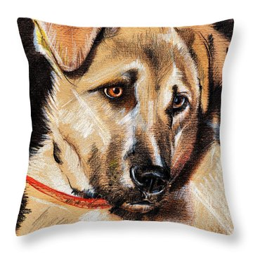 Dog Portrait Drawing Throw Pillow