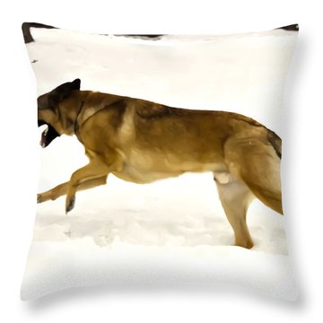 Dog Running In The Snow Throw Pillow