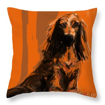 Throw Pillow featuring the painting dog   Simon by Go Van Kampen