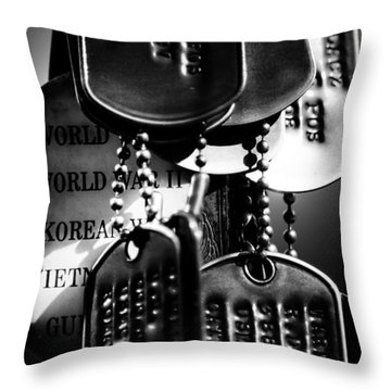 Dog Tags From War Throw Pillow