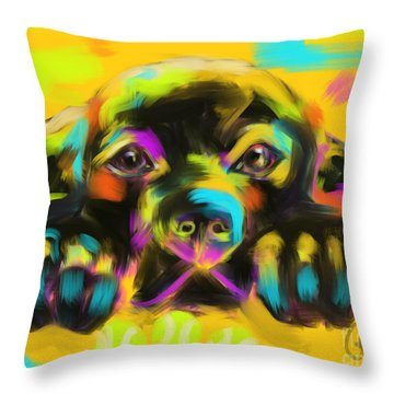Throw Pillow featuring the painting Dog Tank by Go Van Kampen