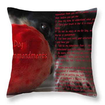 Dog Ten Commandments Throw Pillow by Stelios Kleanthous