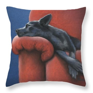 Throw Pillow featuring the drawing Dog Tired by Cynthia House