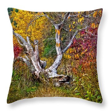 Throw Pillow featuring the digital art Dog Tree by Mary Almond