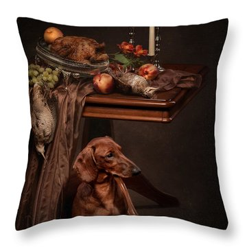 Dog Under The Table Throw Pillow by Tanya Kozlovsky