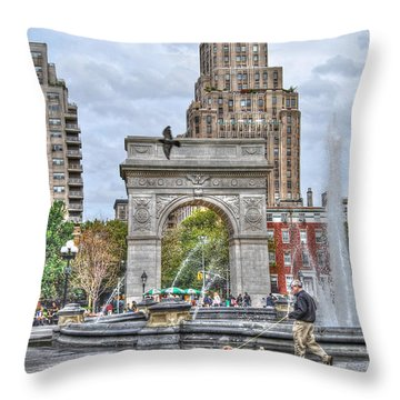 Dog Walking At Washington Square Park Throw Pillow by Randy Aveille
