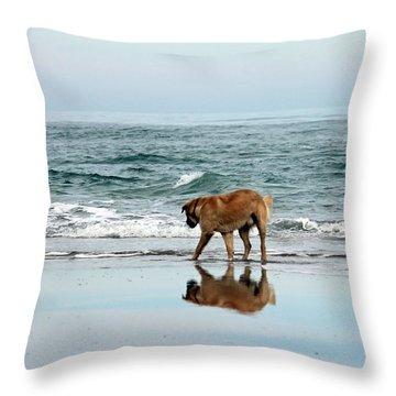 Dog Walking Throw Pillow by Cynthia Guinn