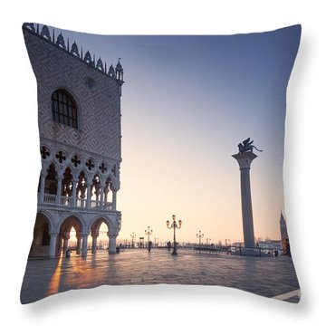 Doges Palace At Sunrise Venice Italy Throw Pillow by Matteo Colombo