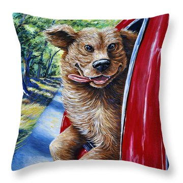 Dog...gone Happy Throw Pillow by Gail Butler