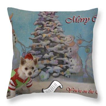 Doggy Elf Nice List Throw Pillow