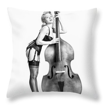 Throw Pillow featuring the photograph Doghouse With Mosh - String Bass Baby   by Gary Heller
