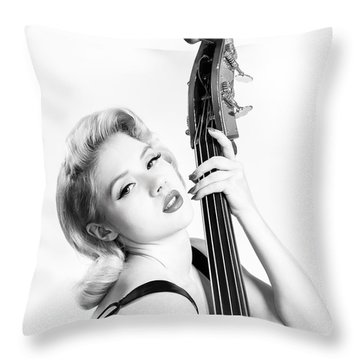 Doghouse Portrait Of Mosh - Double Bass Throw Pillow by Gary Heller