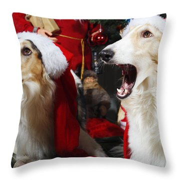 dogs Borzoi puppies and Christmas greetings Throw Pillow by Christian Lagereek