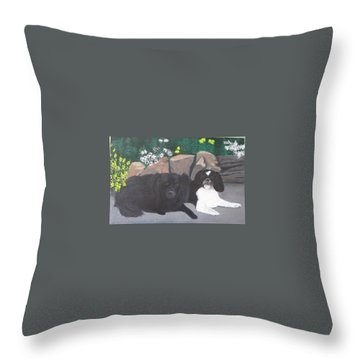 Dogs Daisy And Buttons Throw Pillow