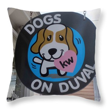 Dogs On Duval Throw Pillow by Fiona Kennard