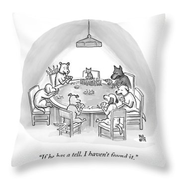 Dogs Playing Poker Refer Angrily To A Cat Who Throw Pillow