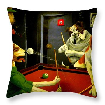 Dogs Playing Pool Wall Art Unknown Painter Throw Pillow by Kathy Barney