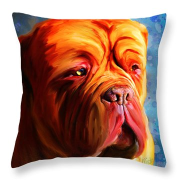 Vibrant Dogue De Bordeaux Painting On Blue Throw Pillow by Michelle Wrighton