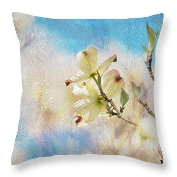 Dogwood Against Blue Sky Throw Pillow by Lois Bryan