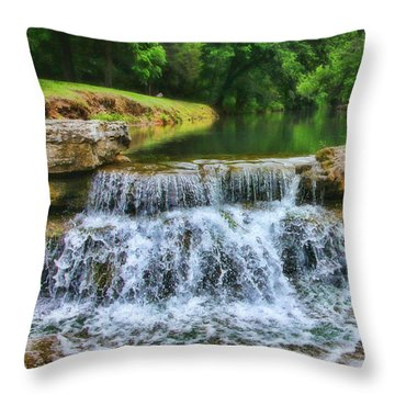 Dogwood Canyon Falls Throw Pillow by Elizabeth Winter