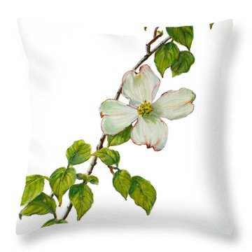 Dogwood - Cornus Florida Throw Pillow