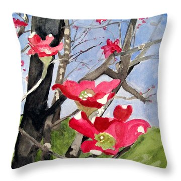 Dogwood Flowers Throw Pillow by Sandy McIntire