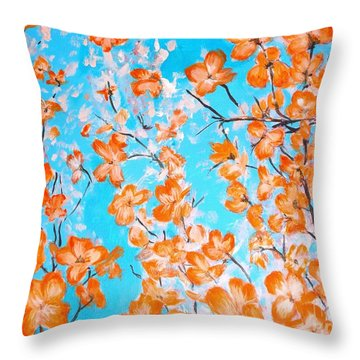 Throw Pillow featuring the painting Dogwoods by Donna Dixon